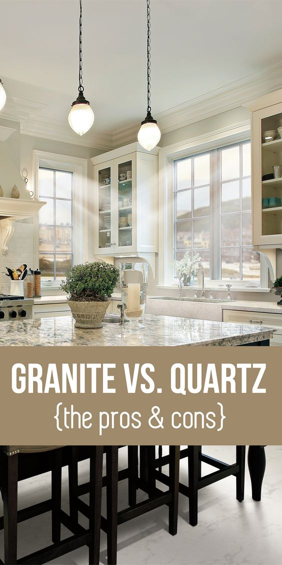 Granite vs. Quartz Countertops: Learn the pros and cons. #home #interiordesign