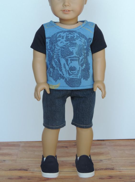 Upcycled Blue Denim Shorts American Girl or by HerDollEssentials