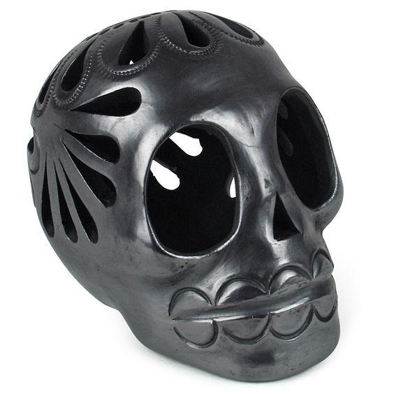 Medium Black Clay Skull