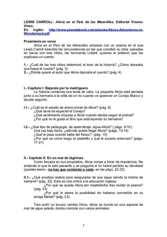 Lewis Carroll Alicia En El País De Las Maravillas Editorial Vicens Vives En Inglés Http Www Planetebook Com Ebooks