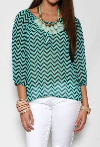 Chevron Print Scoop Neck Top More Colors Available #PrivateGallery #PGPackingList
