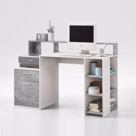 Rocco Wooden Computer Desk In Light Atelier And White Wooden Computer Desks Buy Office Furniture Grey Desk