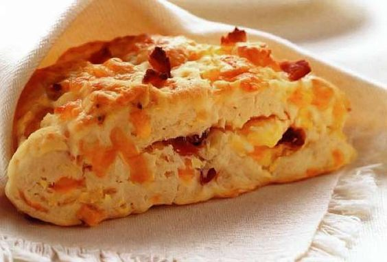 Bacon, egg, and Cheddar scone. Breakfast all in one handy little package.
