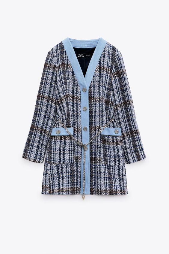 TEXTURED COAT WITH CONTRAST DENIM Zara