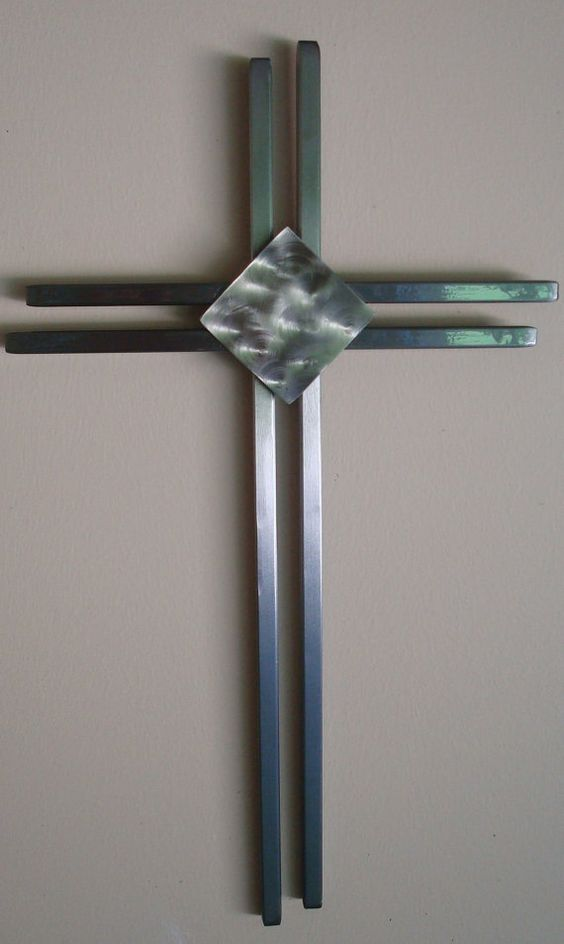 Hand Crafted Modern Metal Wall Cross | Metal walls, Wall ...