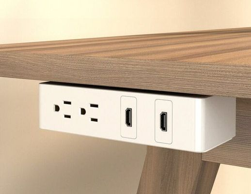 Table Undermount Electrical Outlet 202 White Body White Bracket