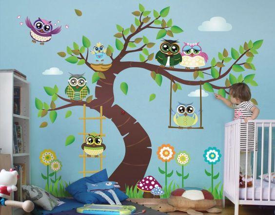 Wandtattoo #Kinderzimmer Eule NoYK23 Lustiger Eulenbaum #