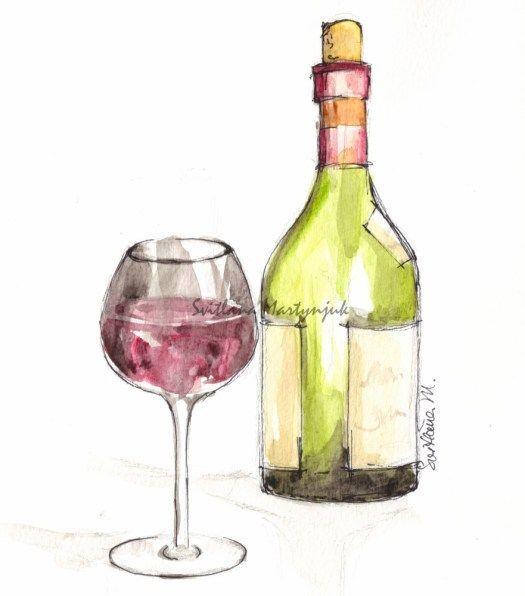 Vino watercolors glass art and bottle for Paint vino