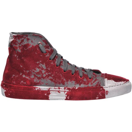 Studswar Kedwin High-Top Sneakers (£81) ❤ liked on Polyvore featuring shoes, sneakers, velvet sneakers, rubber sole shoes, round toe shoes, high top shoes and high top trainers
