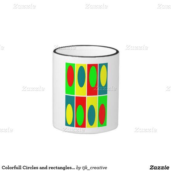 Colorfull Circles and rectangles design Ringer Mug