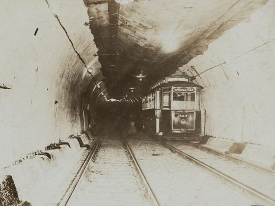 Famous firsts in American cities: First subway At 6 a.m. on Sept. 1, 1897, in Boston, more than 100 passengers climbed aboard the first train to travel through a tunnel. In its infancy, the first subway line in the United States provided passengers a 3 1/2-minute trip and cost 5 cents. The tunnel was designated a National Historic Landmark in 1964 and is still in service today.