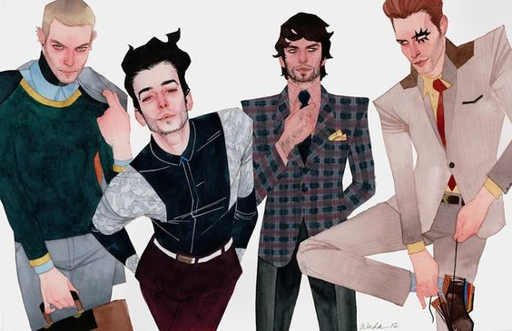 Kevin Wada superhero art: Hulkling and Wiccan, and Rictor and Shatterstar