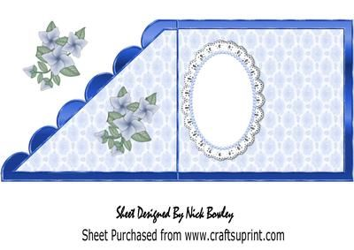 A lovely christening or Baptism on lace in blue edge insert on Craftsuprint - Add To Basket!