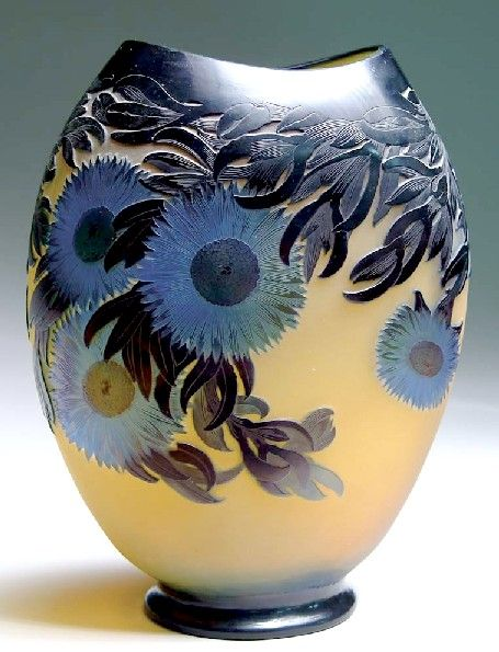 IMAGE: A monumental Galle Cactus vase having cameo cut leaves and foliage