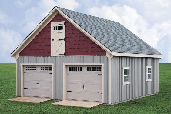 Prefab garages and garage on pinterest for Prefab 2 car garage with loft