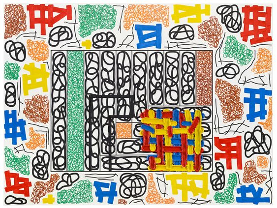 Jonathan Lasker, The Universal Frame of Reference, 2014, oil on linen, 90 x 120 inches. COURTESY CHEIM & READ, NEW YORK