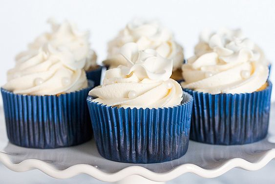 Bridal Shower Cupcakes with Fluffy White Buttercream - elegant cupcakes decorated with sugar pearls and roses