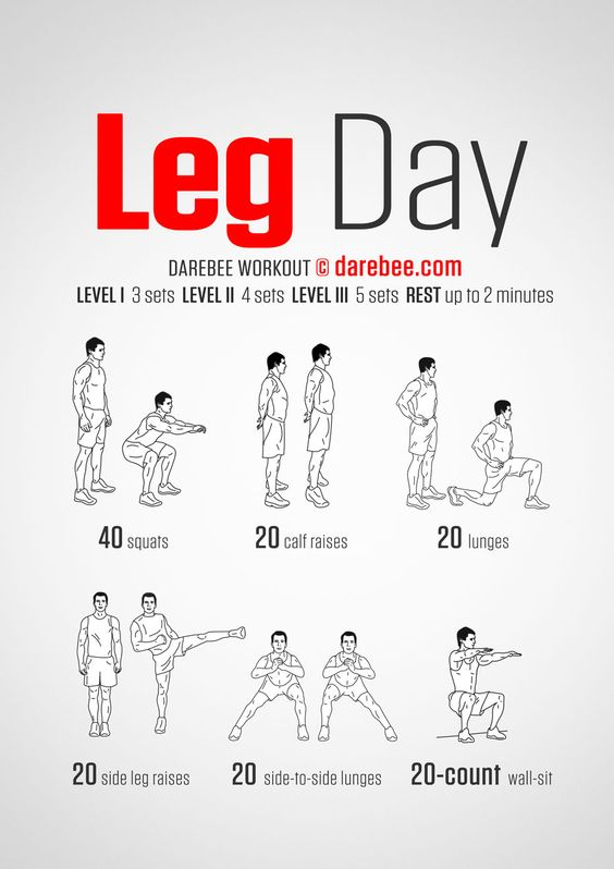 Leg Day - Darebee Workout. [ Well, it's a start but I wouldn't call it a leg day. Grab a barbell, ladies! ]