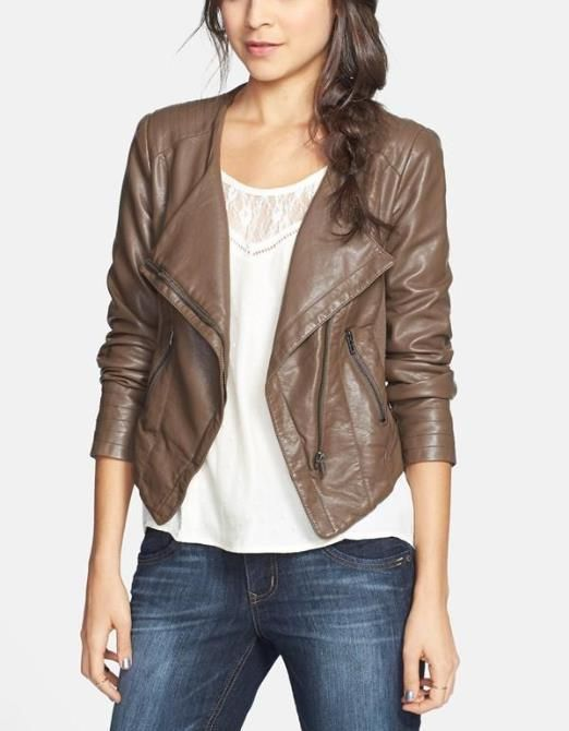 Brown Faux Leather Moto Jacket