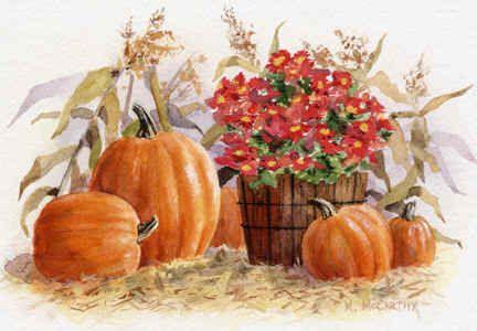Pumpkins and Mums by Maureen McCarthy ~ autumn: