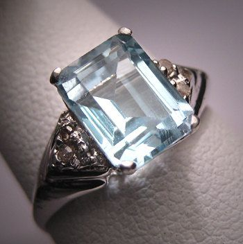 Antique Aquamarine Diamond Wedding Ring by AawsombleiJewelry, $985.00