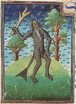 "Museum Meermanno, MMW, 10 B 25, Folio 9r A kind of ape called ""satyrus"". France, c. 1450 Script: Littera hybrida Contains a bestiary and other texts. There are 103 miniatures, decorated initials with border decoration, and penwork initials, some in gold, with pen-flourishes. The bestiary is only partly illustrated (after f. 44r no space for miniatures was left open).:"