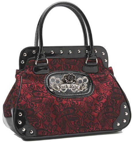 prada handbags discounted - Rock Rebel Tattoo Brocade Lace Shoulder-bag Handbag Black Wine Red ...