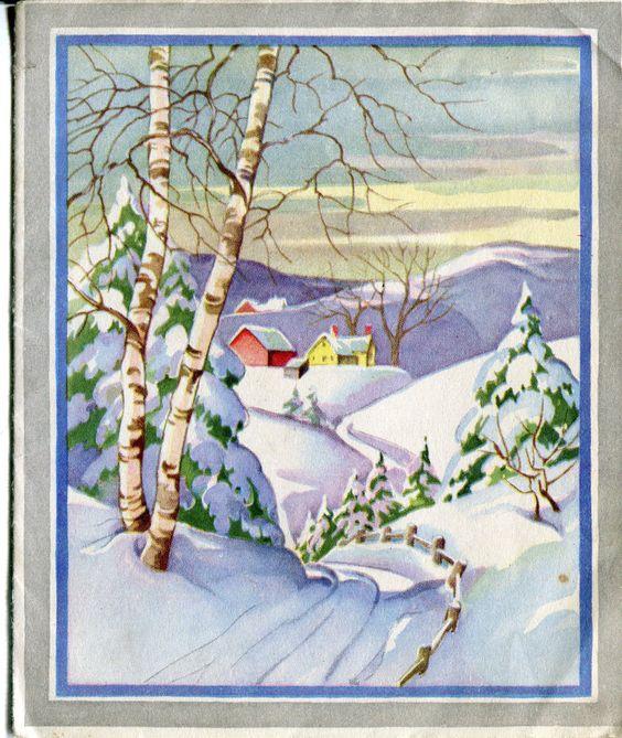 Vintage Whitman Christmas Card Farm in The Snow   eBay