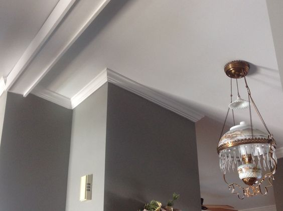 Vaulted ceiling with crown moulding. Nice job done by Joe Gonzales from Portage, Indiana.