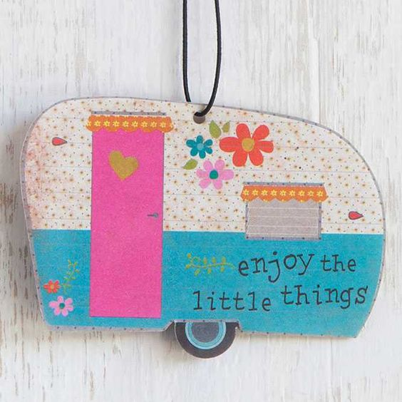 """Camper Little Things Air Freshener - You will love this set of three blue and white camper air fresheners! """"Enjoy The Little Things"""" sentiment reminds you to live happy. Perfect for school and gym lockers, too! Jasmine scent."""