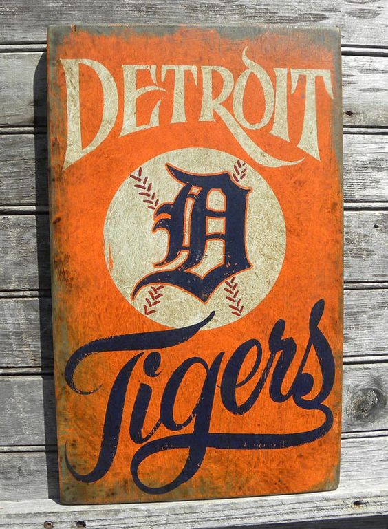 Detroit Tigers Baseball Sign Wooden Original Hand