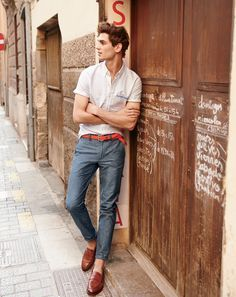 J.Crew men's short sleeve shirt, 484 Irish linen-cotton pant, ribbed cotton belt, and Ludlow penny loafer shoes.