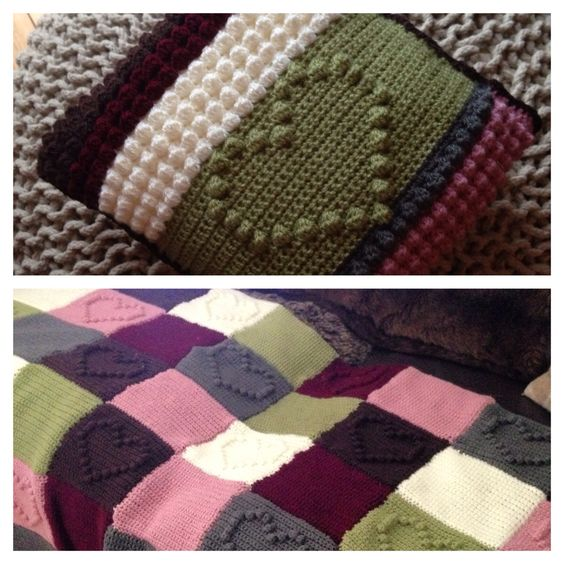 Bobble Heart blanket and cushion