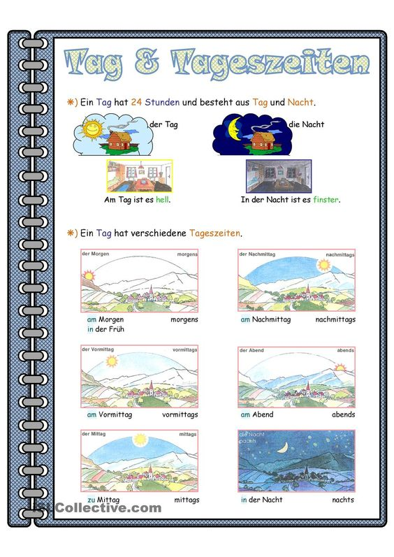 Tag & Tageszeiten _ Lernposter