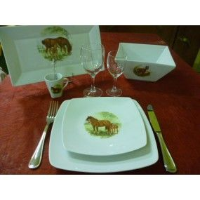 "SERVICE DE TABLE 26 pcs SAHARA DECOR ""CHEVAL & SON POULAIN"" en PORCELAINE"