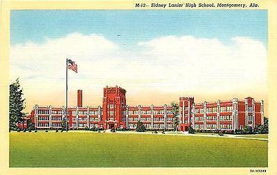 Montgomery Alabama 1937 Sidney Lanier High School Antique Vintage Linen Postcard