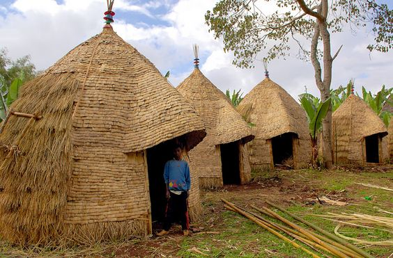 Africa | A Dorze people 'courtyard' in the village of Chencha, southern Ethiopia | © Sergio Pessolano: