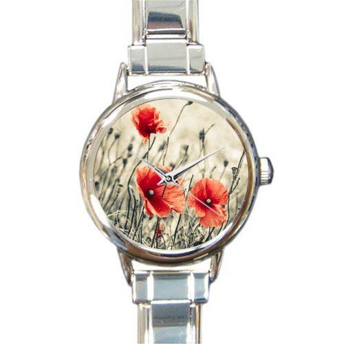 Personalized Watch Vintage Red Poppy Flower Drawing Round Italian Charm stainless steel Watch > Additional details found at the image link  : Travel Gadgets