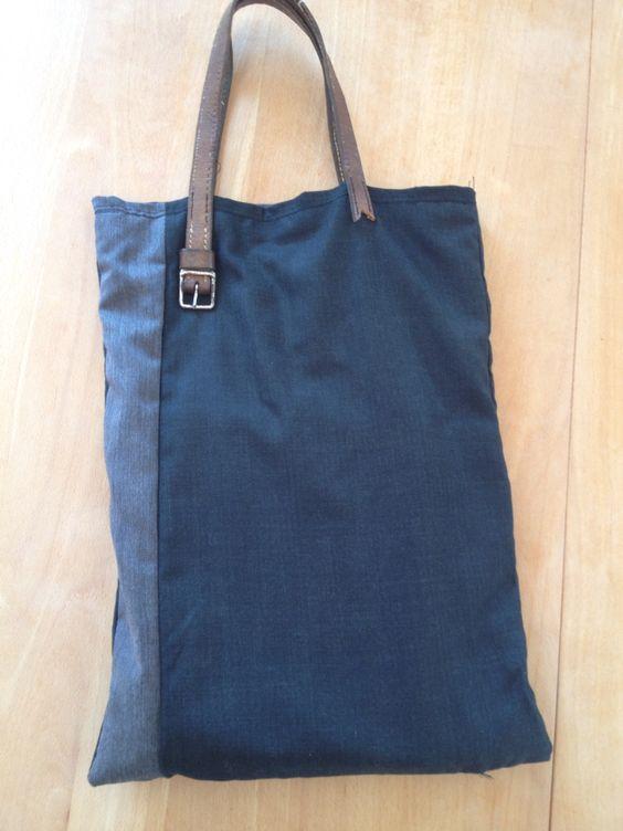 Mon sac recyclé ! Des costumes usés, un chemisier déchiré, une vieille ceinture  et le tour et joué !