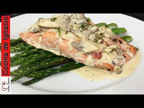 Salmòn En Salsa De Champiñones Y Vino Blanco Youtube Recipes Healthy Food