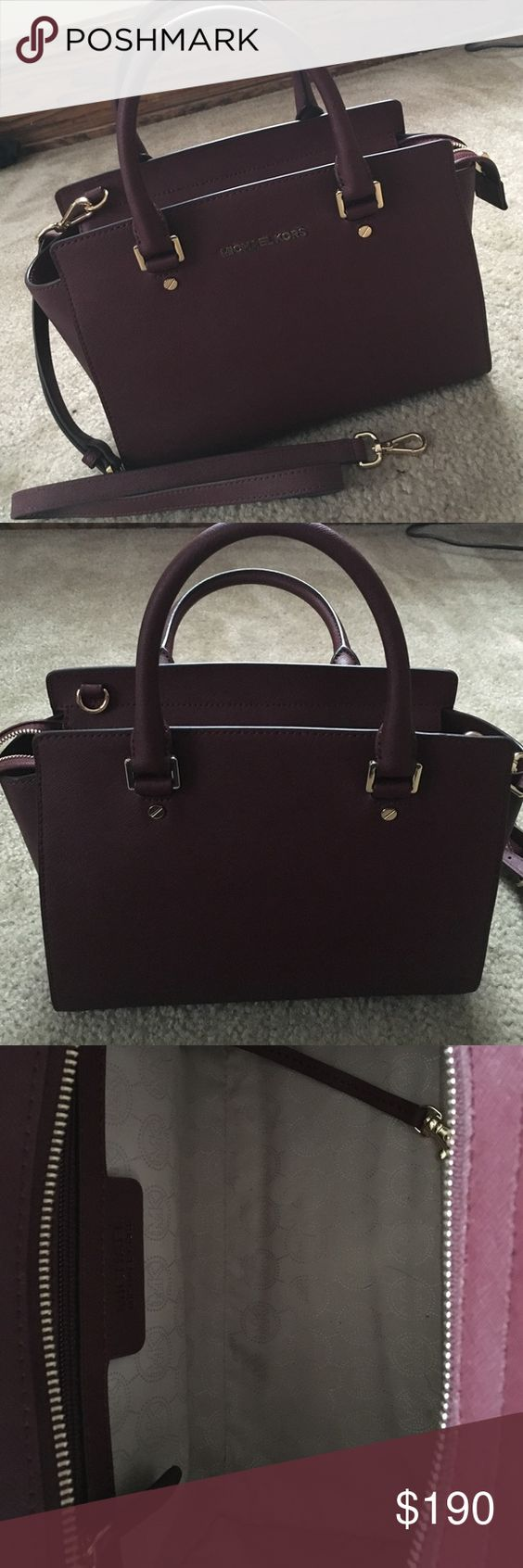Medium Sized Michael Kors Burgundy Selma Satchel Fairly New, worn twice. Comes with dust bag. No marks or scratches on or inside the bag. Michael Kors Bags Satchels