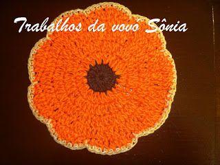 Trabalhos da vovó Sônia: Descanso para panela fruta mexirica - crochê