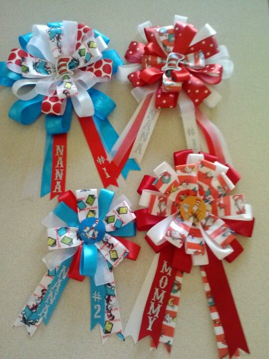 Ribbon Corsages | Dr. Seuss Baby Shower Corsage | Pinterest | Babies, Dr  Seuss Baby Shower And Book Baby Showers