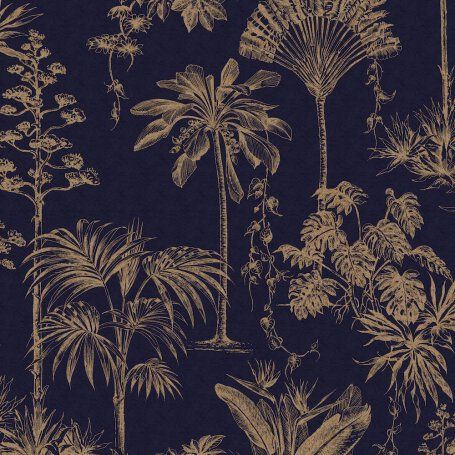 Jungle Palm Holden Decor Glistening Tropical Tree Navy Wallpaper 12821