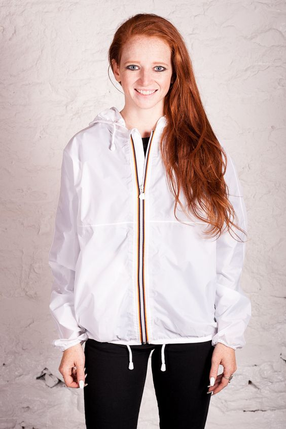 Claudette Klassic Waterproof Rain Jacket in White | sexy