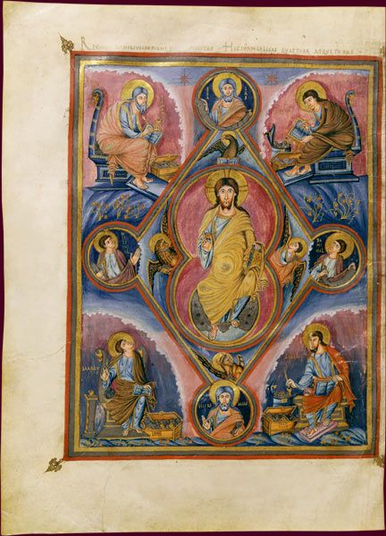 Bible de Vivien, dite Première Bible de Charles le Chauve  Christ en majesté  Saint-Martin de Tours, 845  BnF, Manuscrits, Latin 1 fol. 329v