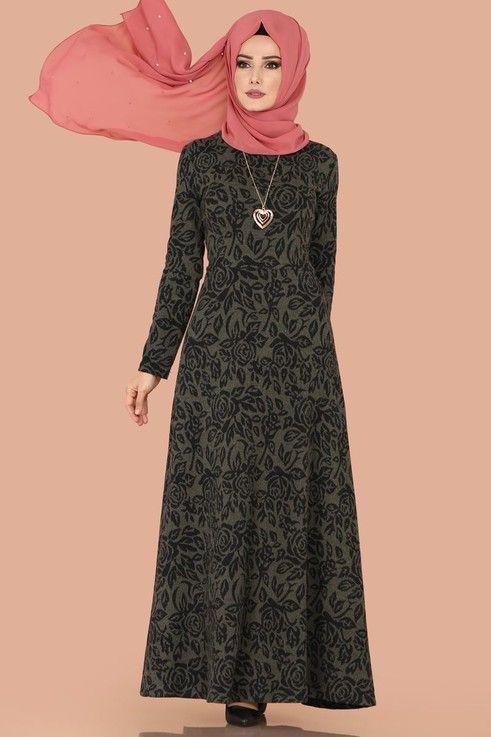 Elbise Kislik Tesettur Elbise 5060mp186 Desen7 Elbise Kiyafet Giyim