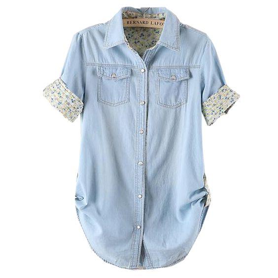 Goedkope 2016 Zomer Gemonteerd Plus Size Vrouwen Denim Shirts Blouses Water…