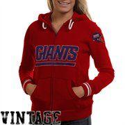 Mitchell & Ness New York Giants Ladies Vintage Full Zip Hoodie - Red -