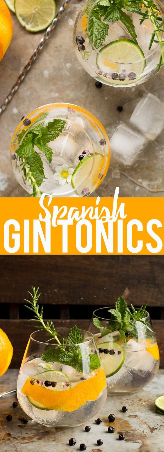 These Spanish Gin Tonics are the perfect refreshing sipper for a hot summer day! Ice cold, filled with aromatics, gin and high quality tonic, they are sure to cool you down!